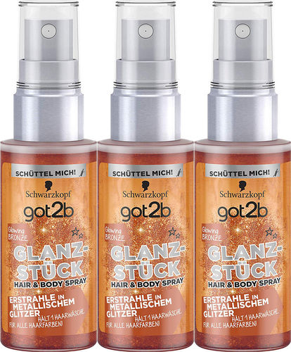 Schwarzkopf Glanzstück Hair & Body Spray Glowing Bronze 3 x 50ml